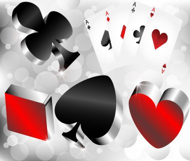 Shiny metallic glossy symbols of playing cards on silver abstract background