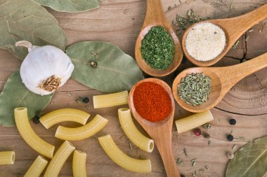 Spices on Wood table food preparation Food ingredients