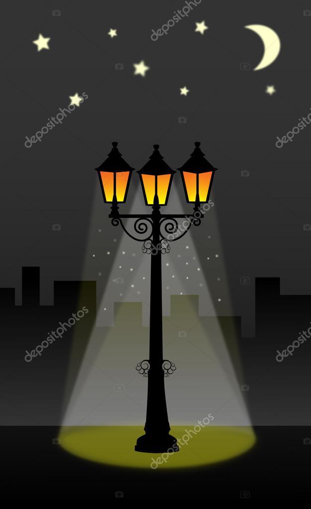 lanterne d 39 clairage public avec ciel toil avec la lune et les toiles rue vector illustration. Black Bedroom Furniture Sets. Home Design Ideas