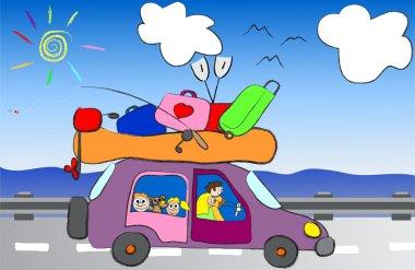 Cartoon funny happy family travel in the car vector illustration