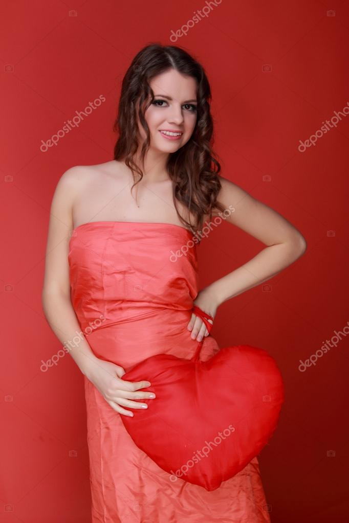 Girl In Red Dress With Symbol Of Heart Stock Photo Mari1photo