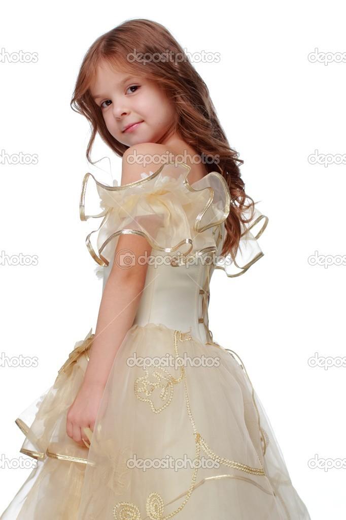 hübsches kleines Mädchen in ein Abendkleid — Stockfoto © Mari1Photo ...