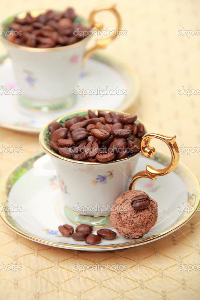 Two Beautiful Coffee Cups With Coffee Beans Stock Photo C Mari1photo 23831649