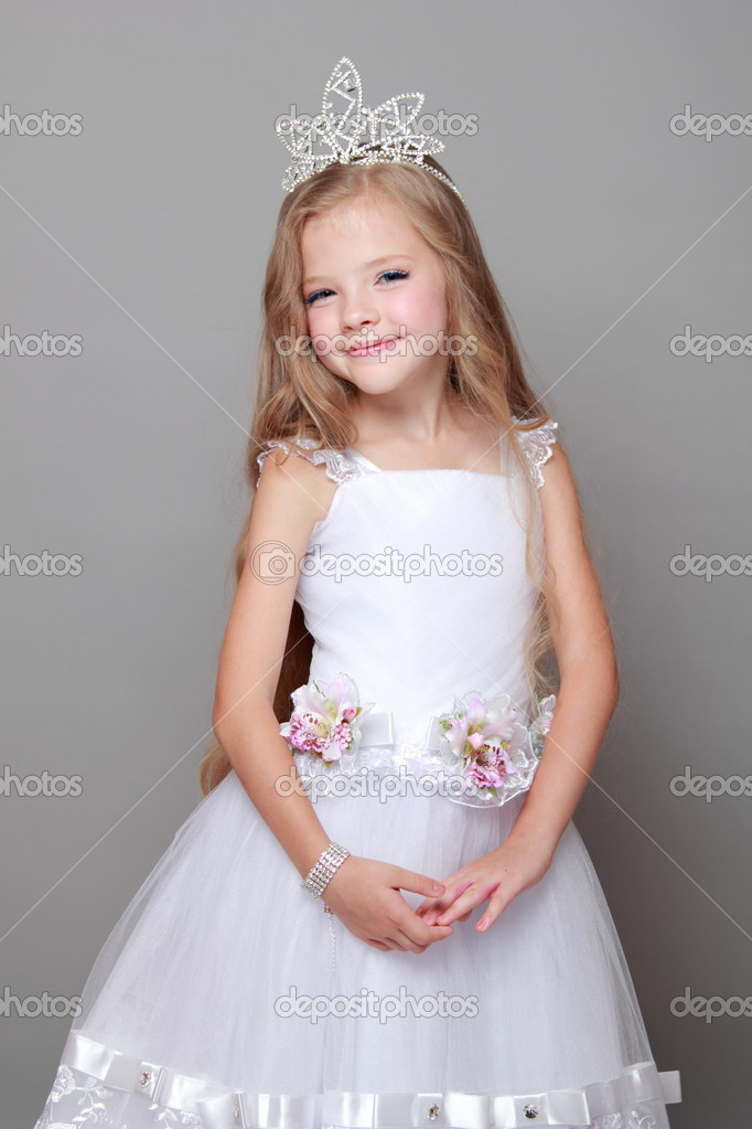 Caucasian Little Girl With Beautiful Long Hair In The