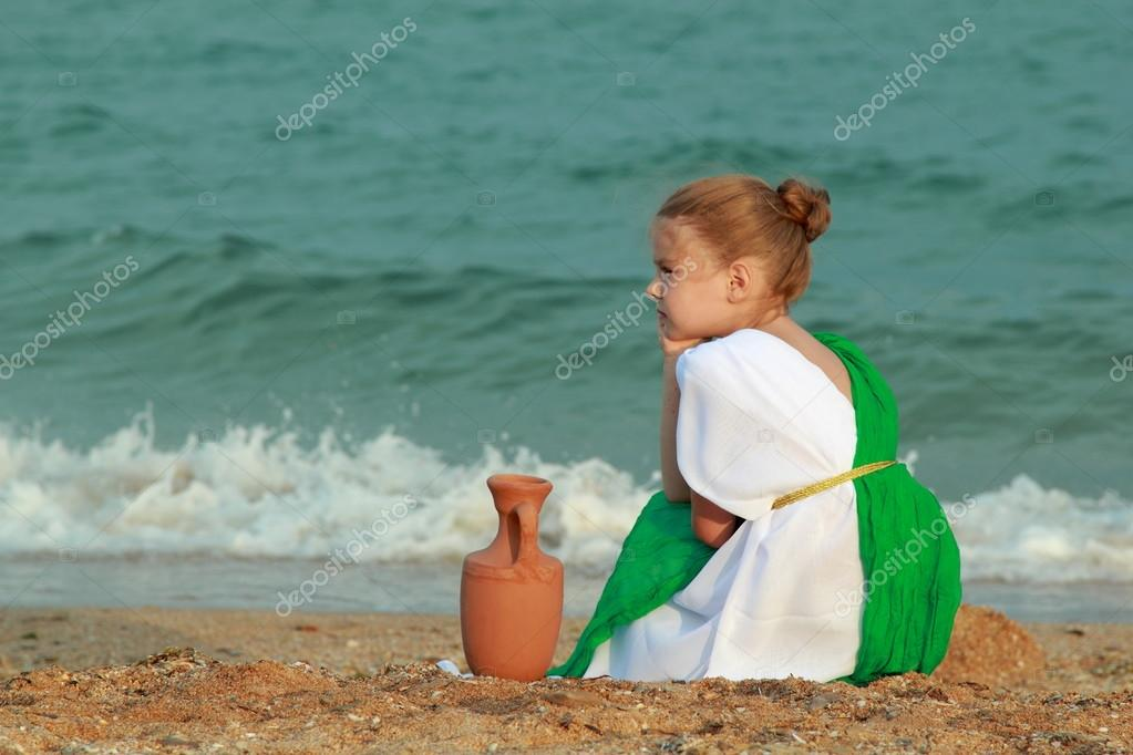 Little girl in the role of the Greek goddess of outdoors
