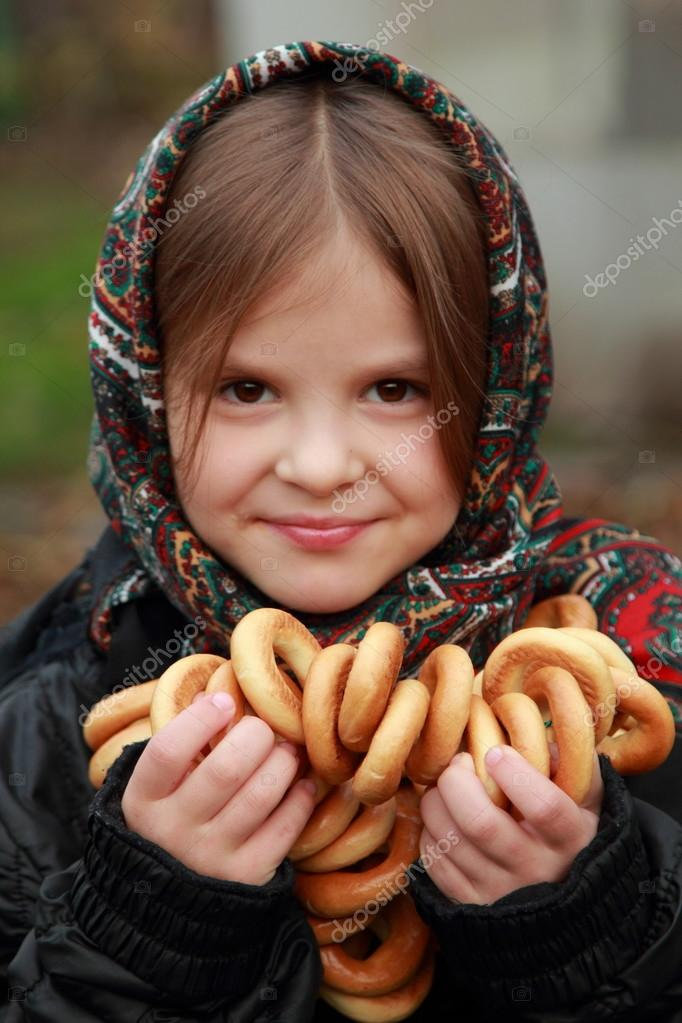 Girl in russian village traditional kerchief