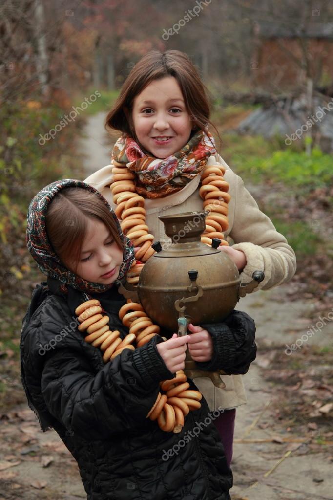 Girls in russian traditional kerchiefs