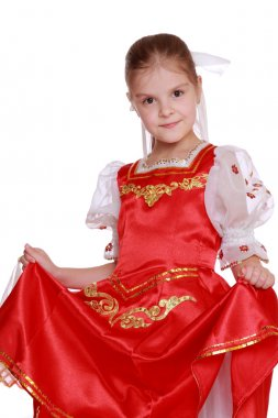 Young girl dance in Russian nationality