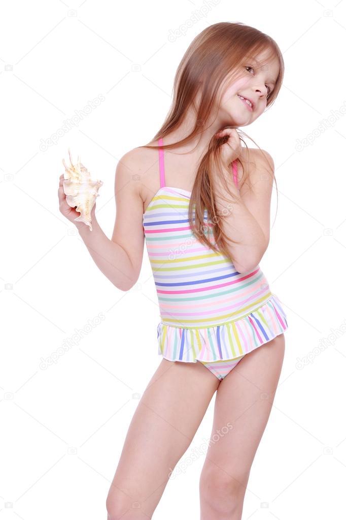 fille en maillot de bain avec coque photographie mari1photo 40299653. Black Bedroom Furniture Sets. Home Design Ideas