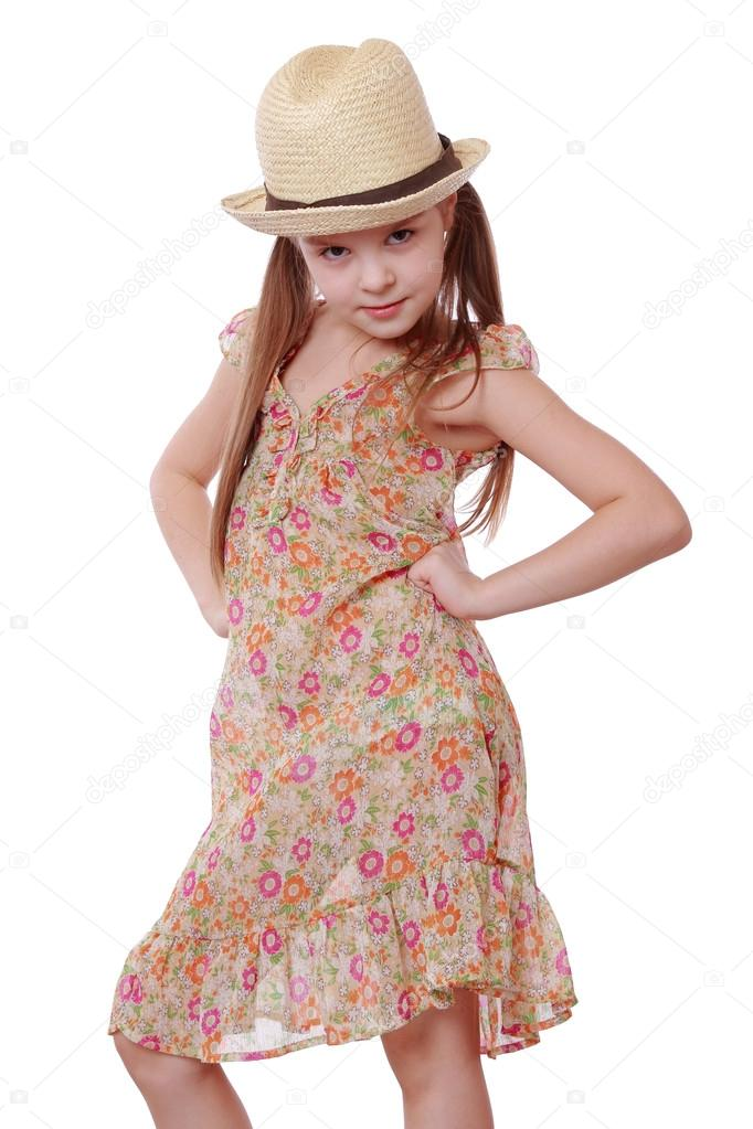Little Girl In Summer Dress And Straw Hat Stock Photo C Mari1photo 43950081