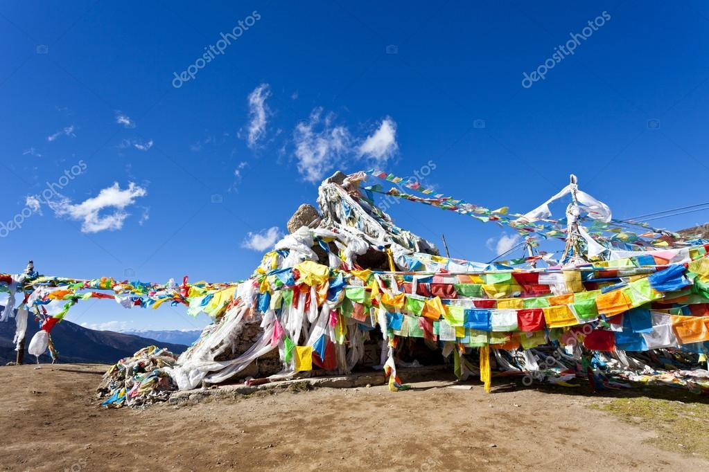 Colorful prayer flags and snow mountain