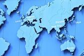 mapa světa v modré barvě