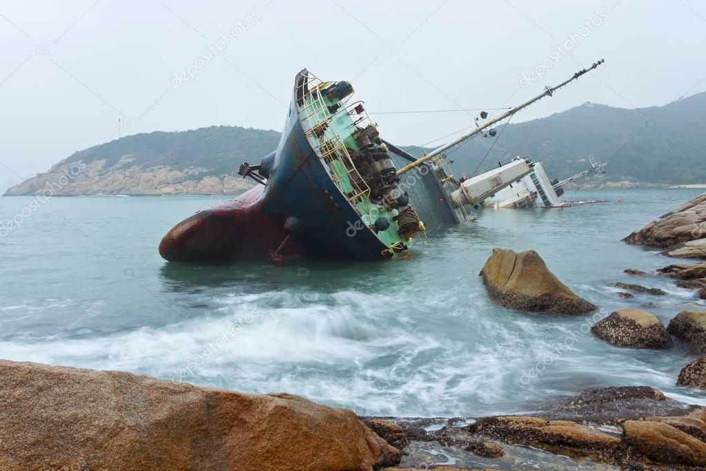 Wreck on the coast in Hong Kong