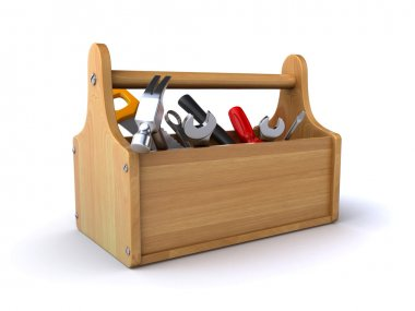 Wooden toolbox with tools on the white background (3d render) stock vector