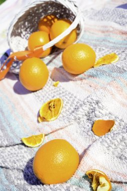 Fruits oranges outdoor in picnic