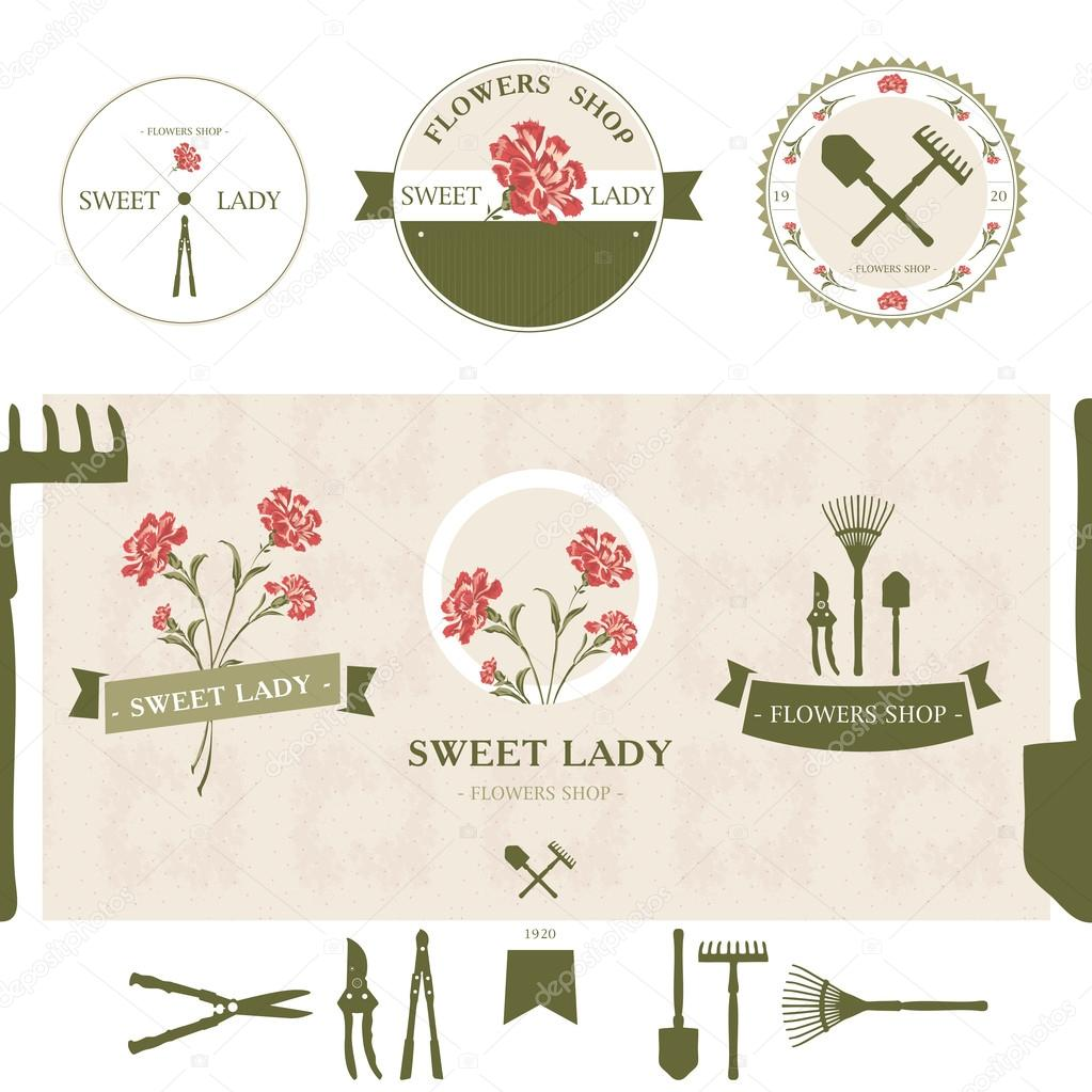 Set of flowers shop labels and design elements