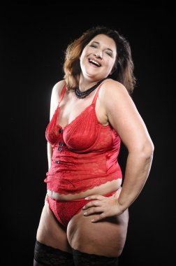 plus size happy in red lingerie