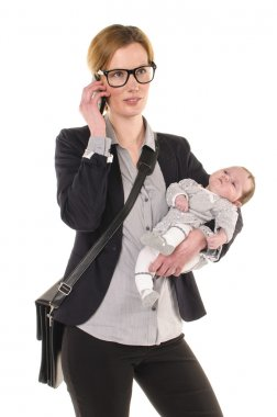 elephoning businesswoman with baby