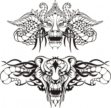 Symmetric animal tattoos