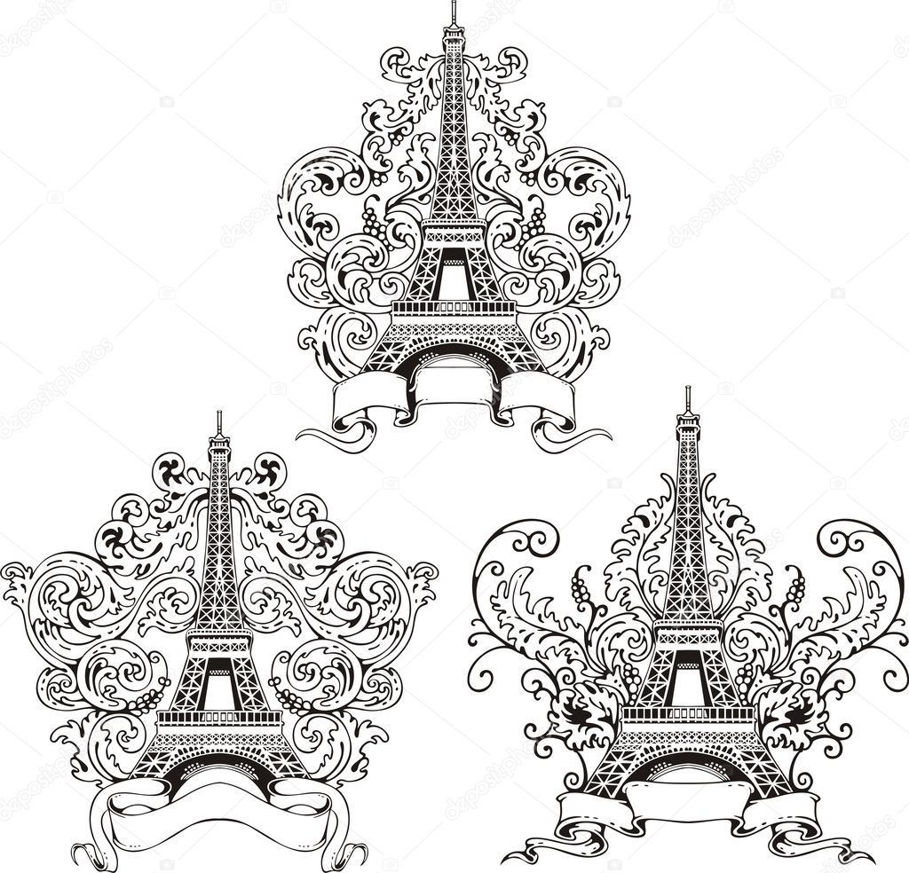 stylized eiffel tower u2014 stock vector rorius 12400848