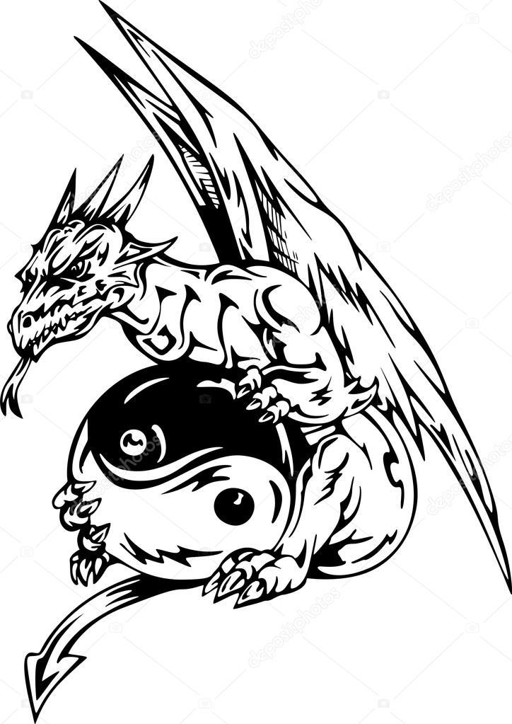 Smok Tatuaż Znak Yin Yang Grafika Wektorowa Rorius 13704576