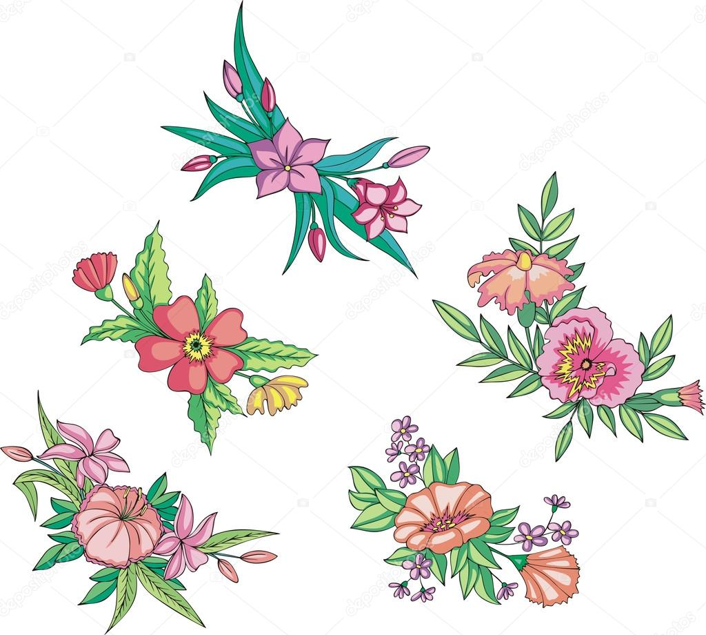 flores rosadas miscelneas para adornos Vector de stock rorius