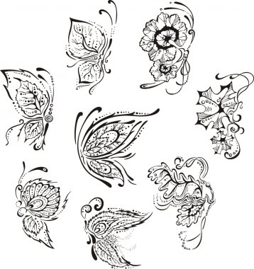 Ornamental floral butterflies