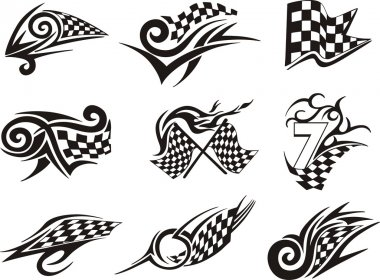 Set of racing tattoos with checkered flags