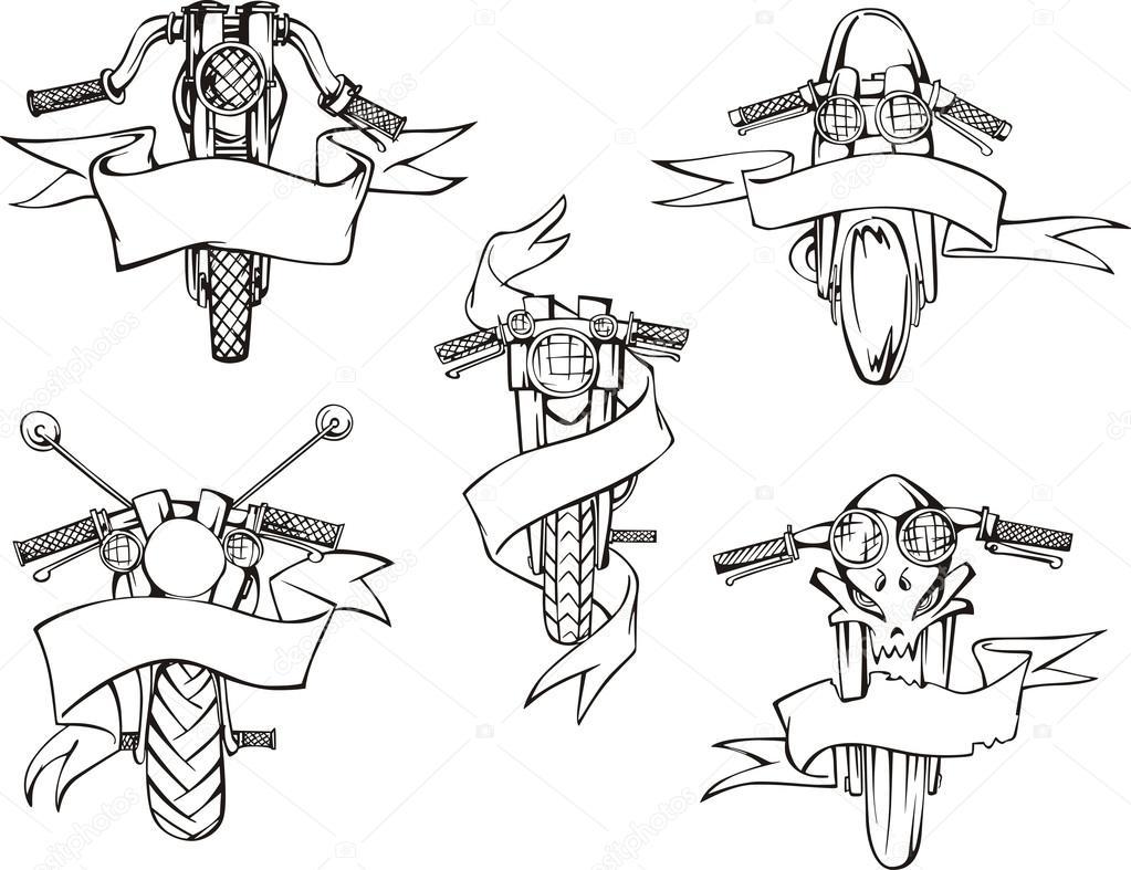 Motorrad-Vorlagen mit Bändern — Stockvektor © rorius #16961681