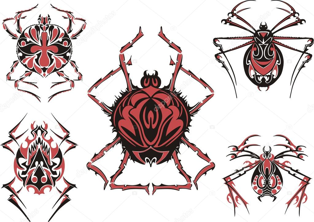 Tatuaże Czarno Czerwony Pająk Symetrycznego Grafika