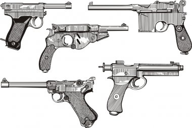 Set of old pistols