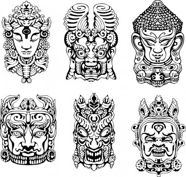 Hindu deity masks. Set of black and white vector illustrations. stock vector
