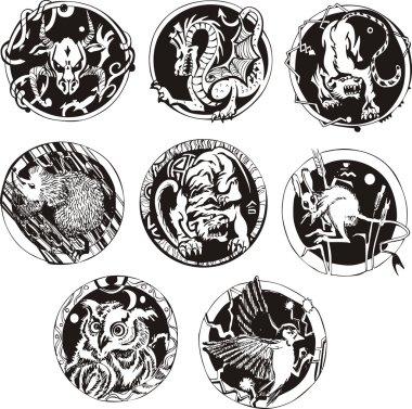 Round tattoos with animals