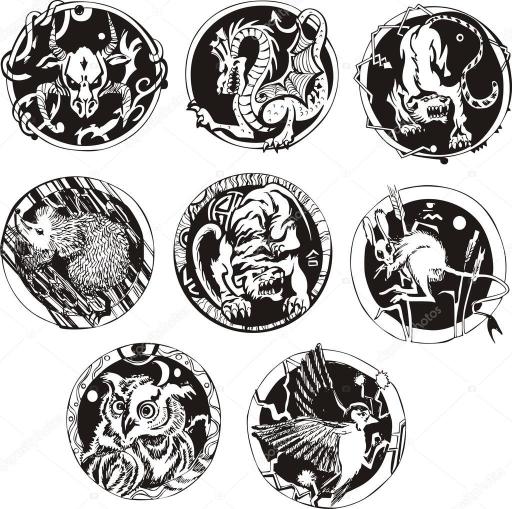 Rundy Tatuaże Ze Zwierzętami Grafika Wektorowa Rorius