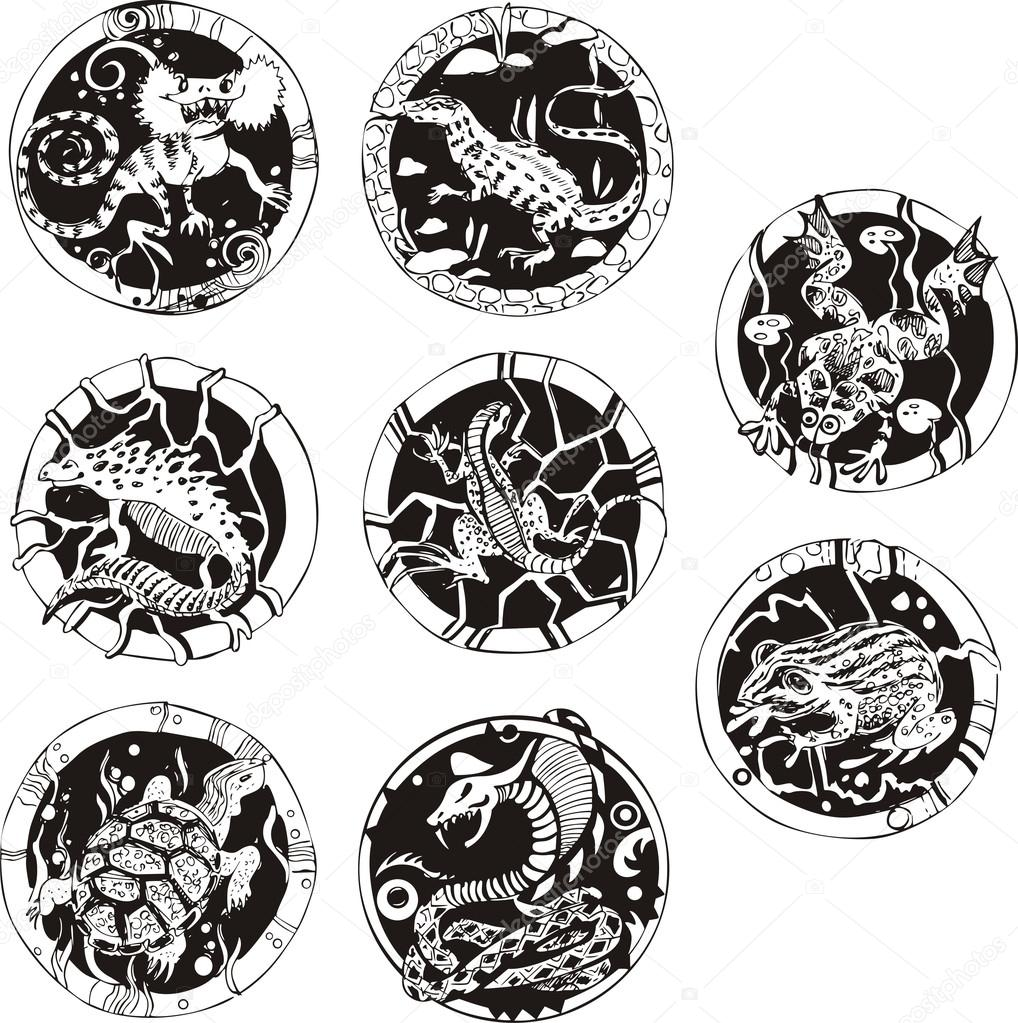 round tattoos with reptiles stock vector rorius 23164074 rh depositphotos com round tattoos for shoulder round tattoos for shoulder