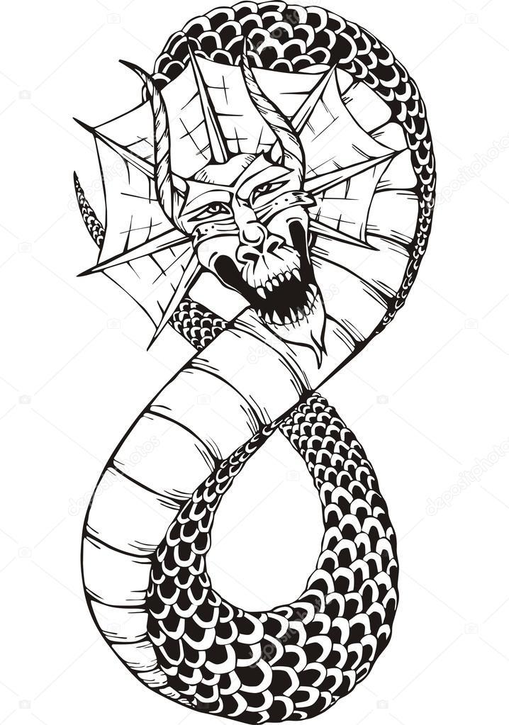 serpiente dragón oriental — Archivo Imágenes Vectoriales © rorius ...