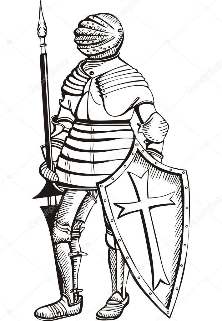 caballero medieval — Vector de stock © rorius #32016127