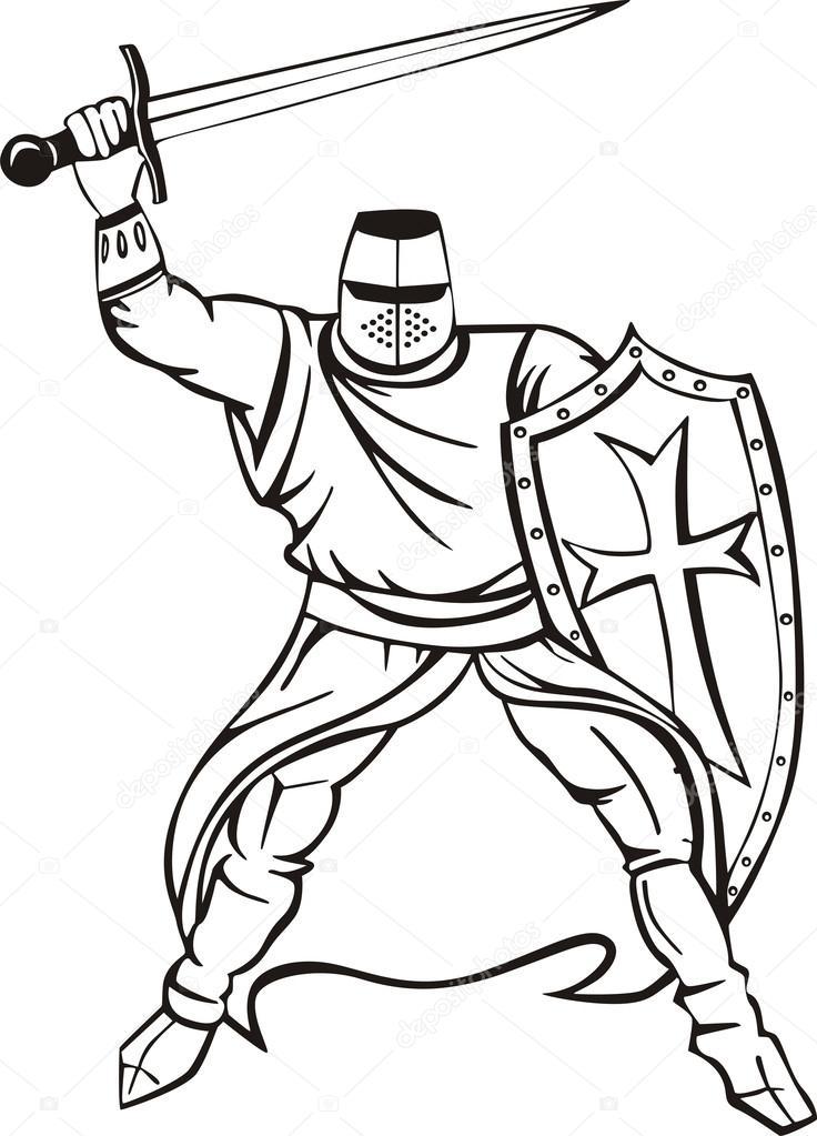 Depositphotos Stock Illustration Medieval Knight Crusader Photo Pencil Drawings