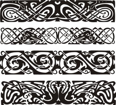 knot designs in celtic style with birds
