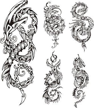 Stylized dragon knot tattoos