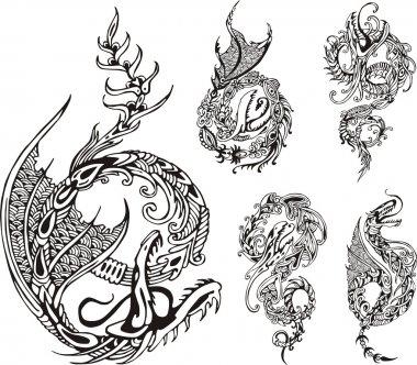 Stylized dragon tattos