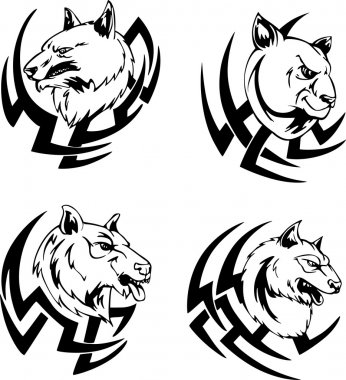 Predator animal head tattoos