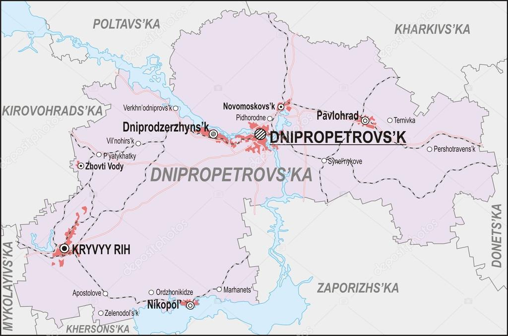 Map of Dnipropetrovsk Oblast Stock Vector rorius 43740559