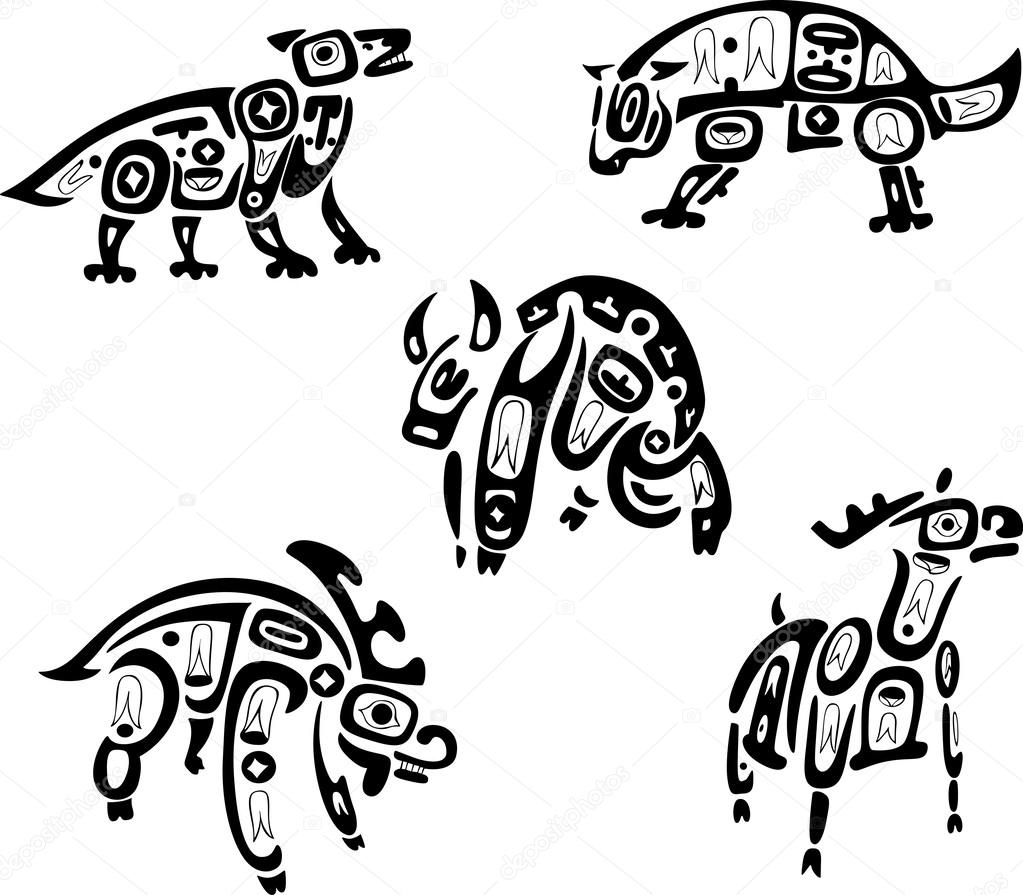 Dibujos Tribales De Animales Nativos Indios Shoshone Tribales