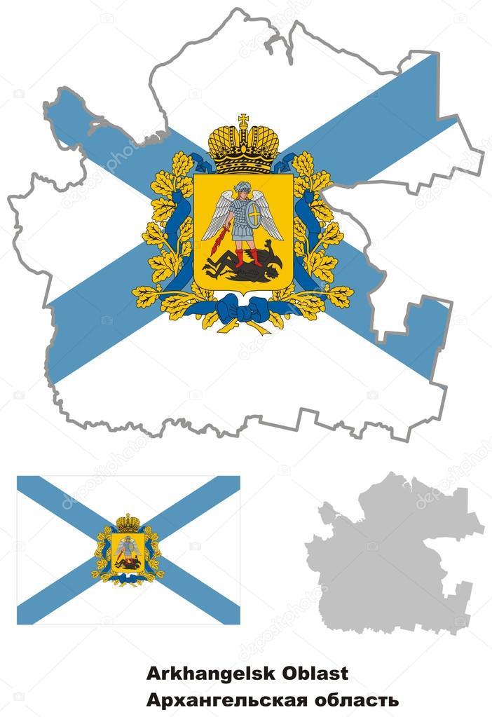 Der Umriß der Oblast Archangelsk mit Flagge — Stockvektor © rorius ...