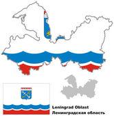 Fotografie Der Umriß des Leningrader Oblast mit Flagge