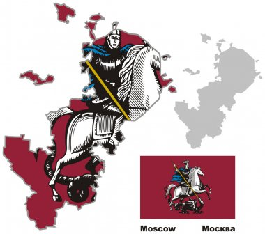 outline map of Moscow with flag