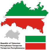 Fotografie Der Umriß von Tatarstan mit Flagge