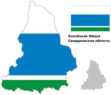 outline map of Sverdlovsk Oblast with flag