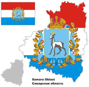 outline map of Samara Oblast with flag